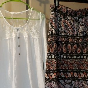 Ladies maxi skirt and blouse